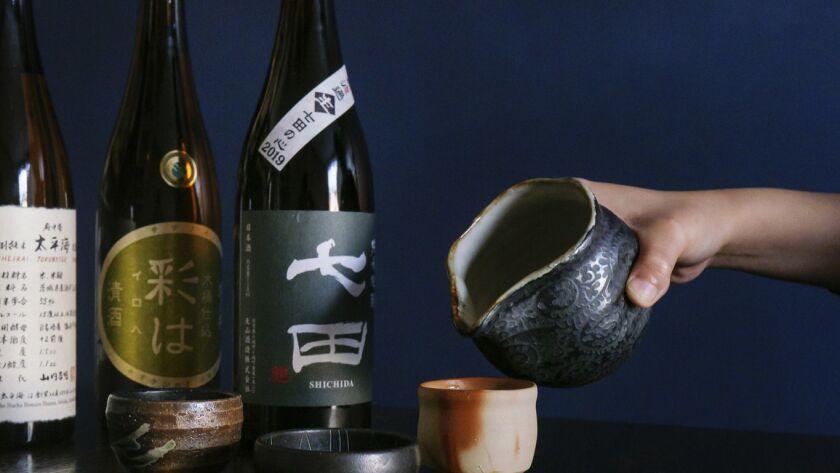 LOS ANGELES, CALIF. -- THURSDAY, MARCH 21, 2019: A variety of sake poured at Tsubaki, a Japanese iza