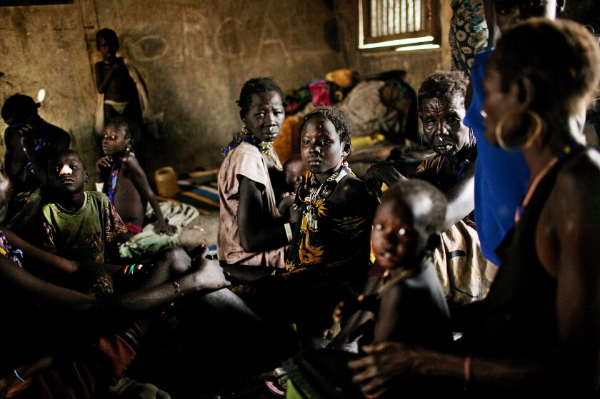 Displaced women from the Murle tribe take shelter in a primary school in Pibor, South Sudan, on Feb. 2, 2012. A few months earlier, more than 90,000 Murle were displaced around Pibor in an attack by members of the neighboring Lou Nuer tribe.