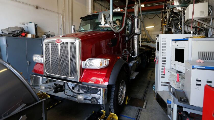 A truck is tested to see if it meets emissions standards at a California Air Resources Board facility in Los Angeles.