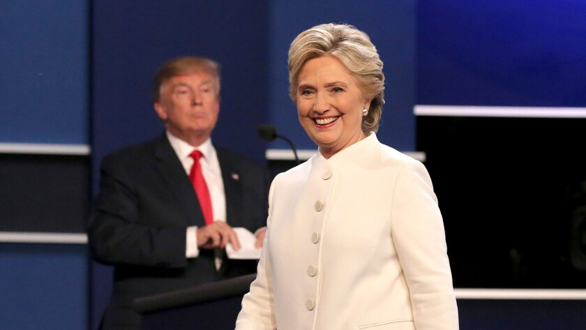 Democratic nominee Hillary Clinton and Republican nominee Donald Trump after the final presidential debate in Las Vegas on Wednesday.