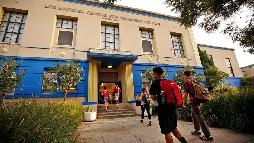 The Los Angeles Center for Enriched Studies, a magnet school in L.A., is one of the schools where most graduates get to college.