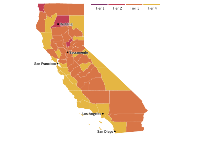 California tiers map: 24 counties in yellow (including San Diego, Santa Barbara and San Luis Obispo), 31 orange and 3 red