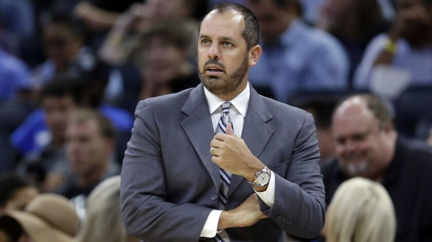 FILE - In this Oct. 24, 2017, file photo, Orlando Magic coach Frank Vogel watches his team play the