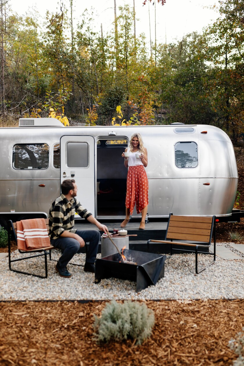 Airstream outdoors at AutoCamp, a 102-unit Airstream trailer park, in Midpines.