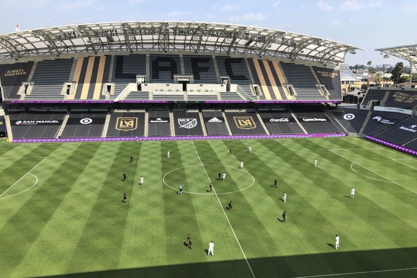 An LAFC-Galaxy game with no fans at Banc of California Stadium on Aug. 22, 2020.