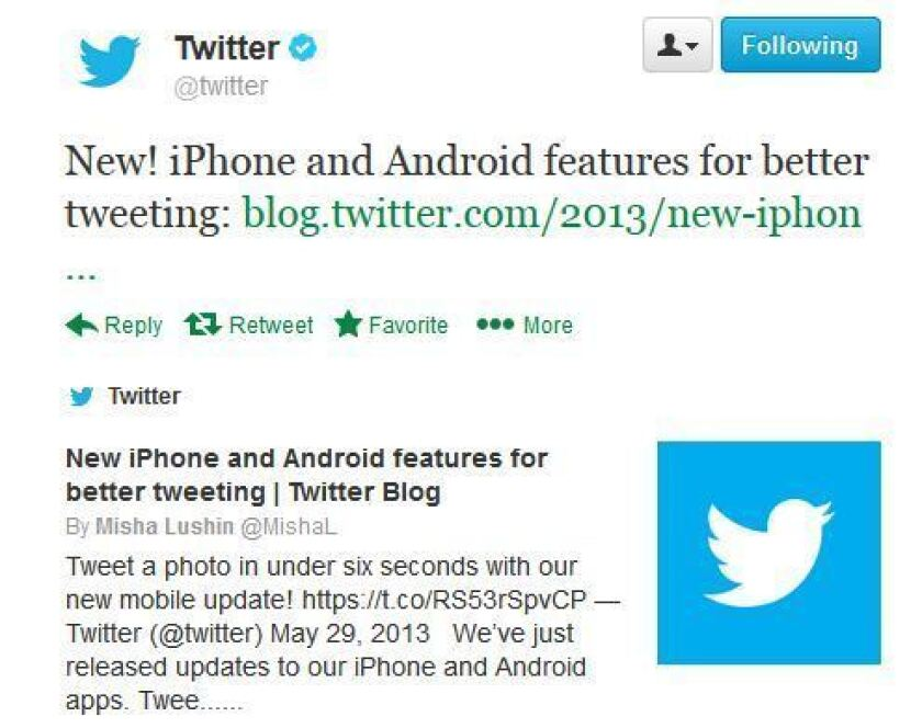 Twitter's latest app update makes it possible for users to share pictures faster.