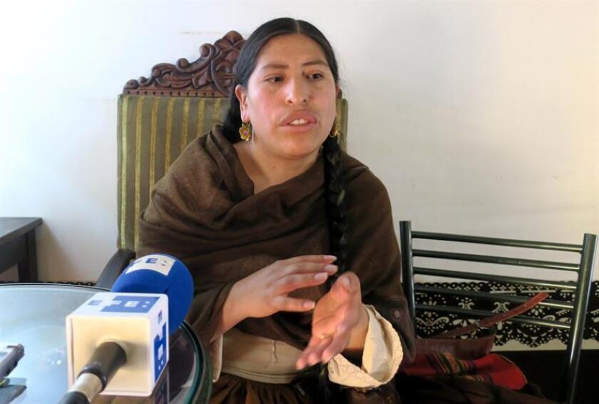 Bolivian activist Yola Mamani in an interview with EFE on Match 11, 2019 in La Paz, Bolivia. EPA- EFE/Gina Baldivieso
