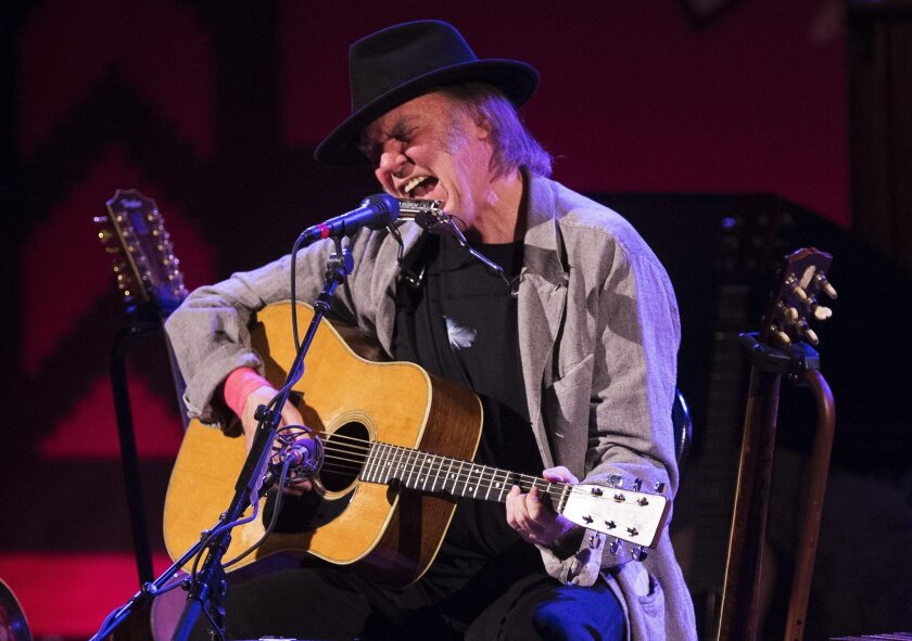 Neil Young performs last month in Toronto. The veteran rocker announced Thursday that he'll play two shows at the Dolby Theatre in Hollywood in March.
