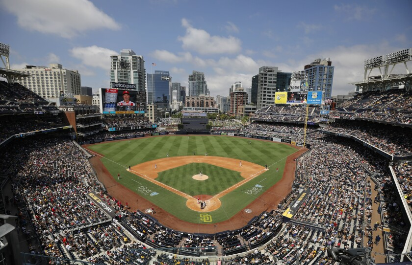 The Padres have played before large crowds for several months at Petco Park, including this game against the Phillies.