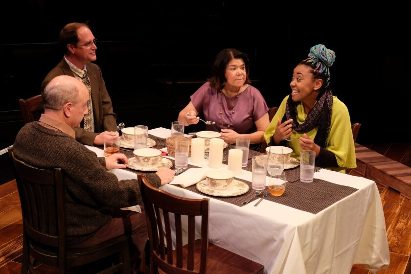 "Eric Poppick, John Tessmer, Saverina Scopelleti and Whitney Brianna Thomas (left to right) in ""From Another House."""