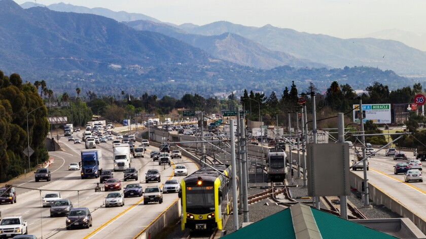 A Gold Line train pulls into the Sierra Madre Villa station in Pasadena after a trip on the 11.5-mile Foothill Extension, which opened in March.