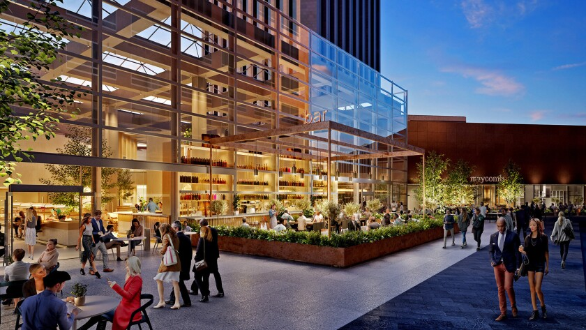 When complete in 2019, the Wells Fargo Center's new common area will be indoor-outdoor with restaura