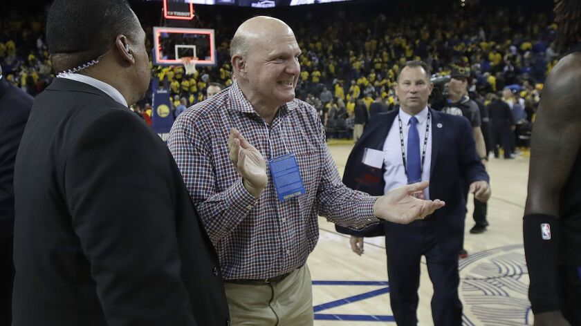 Los Angeles Clippers chairman Steve Ballmer celebrates after the Clippers defeated the Golden State Warriors in Game 2 of a first-round NBA basketball playoff series in Oakland, Calif., Monday, April 15, 2019. (AP Photo/Jeff Chiu)