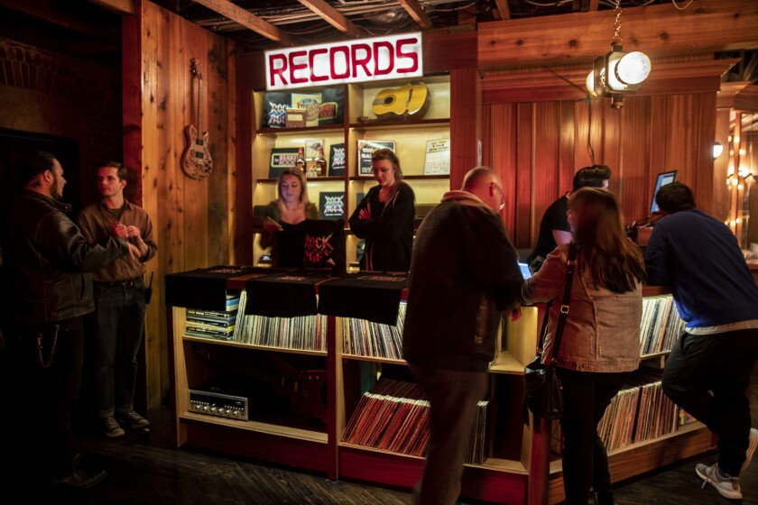 A record store stands in for a traditional theater's gift shop.