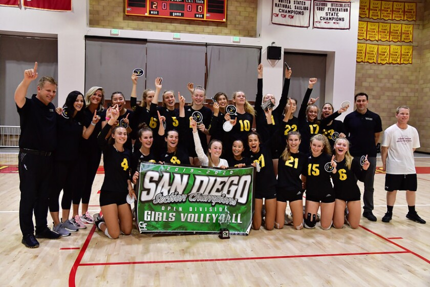 Torrey Pines High School girls volleyball team members celebrate their championship.