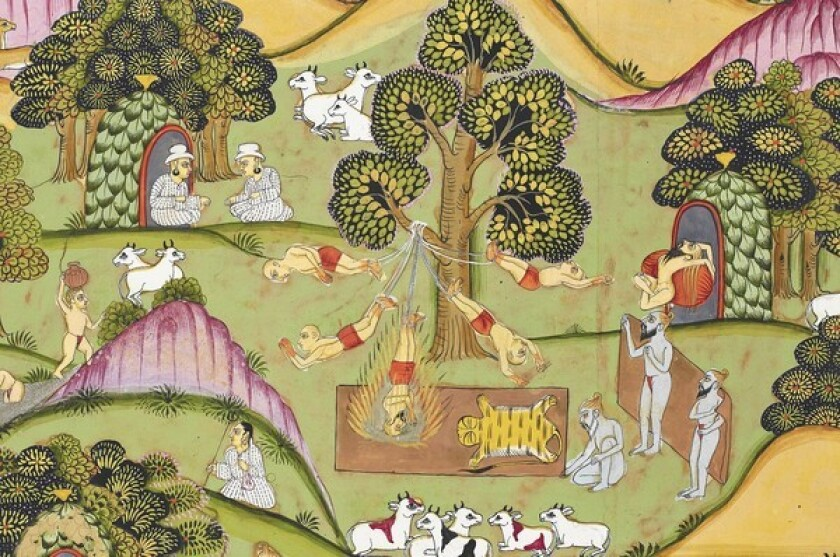 "The 18th century watercolor ""Rama Enters the Forest of Sages"" shows yogis in various positions amid a pastoral setting."