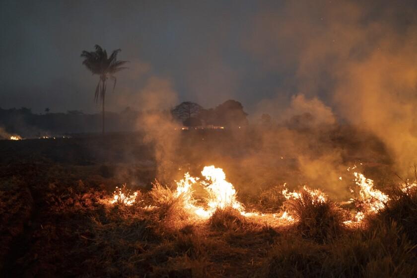 Fire burning on a farm in Brazil