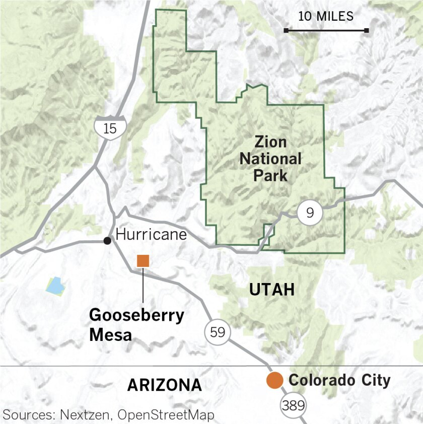 Map of Gooseberry Mesa, Zion National Park in Utah