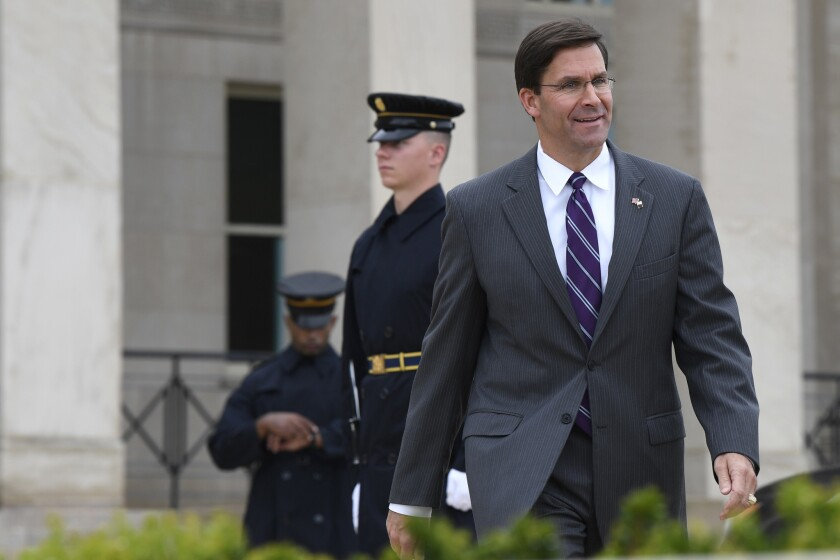 Mark Esper in Washington this month.