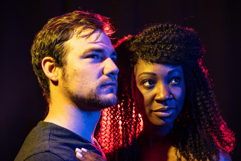 """Daniel Durant and Natasha Ofili costar in Deaf West Theatre's staging of Jean Cocteau's """"Orphee"""" at Odyssey Theatre."""
