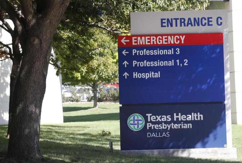 Texas Health Presbyterian Hospital in Dallas, where Thomas Eric Duncan, the Ebola patient who traveled from Liberia to Dallas, is being treated.