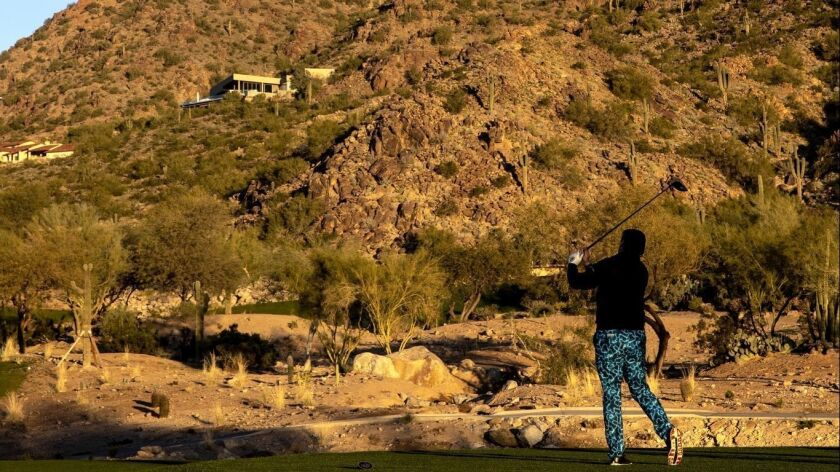 SCOTTSDALE, ARIZ. -- FRIDAY, JANUARY 25, 2019: A golfer hits off a tee at the newly redesigned cour