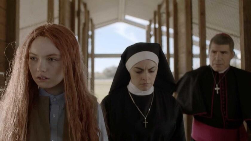"(L-R)- Lauryn Canny, Nora-Jane Noone, and Bryan Batt in ""Darlin.?"" Credit: Dark Sky Films"
