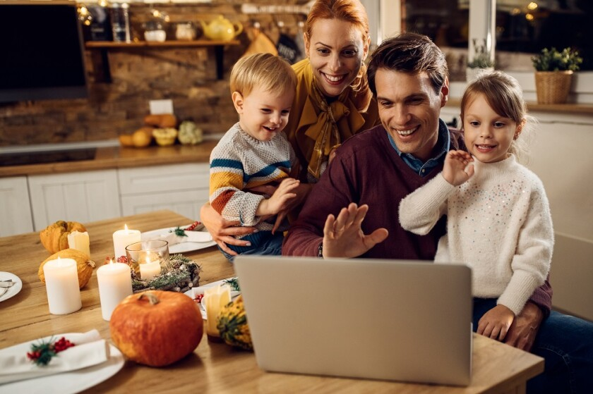 Having a video chat during your holiday celebration is a way to include those who can't be there in person.