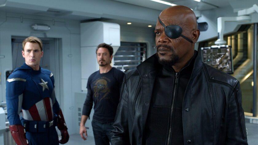 """Chris Evans, Robert Downey Jr. and Samuel L. Jackson in """"The Avengers."""""""