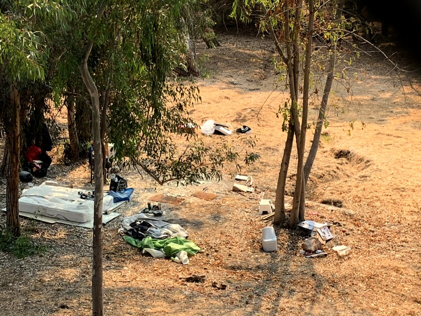Shown are the remnants of an unauthorized encampment on the West L.A. VA campus.