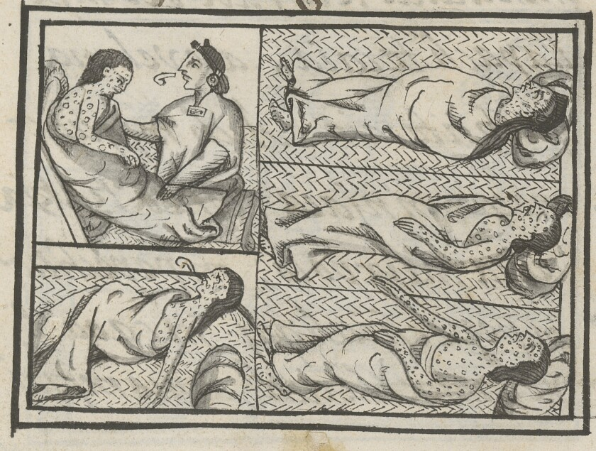 A healer caring for patients suffering from smallpox in Book 12 of the Florentine Codex