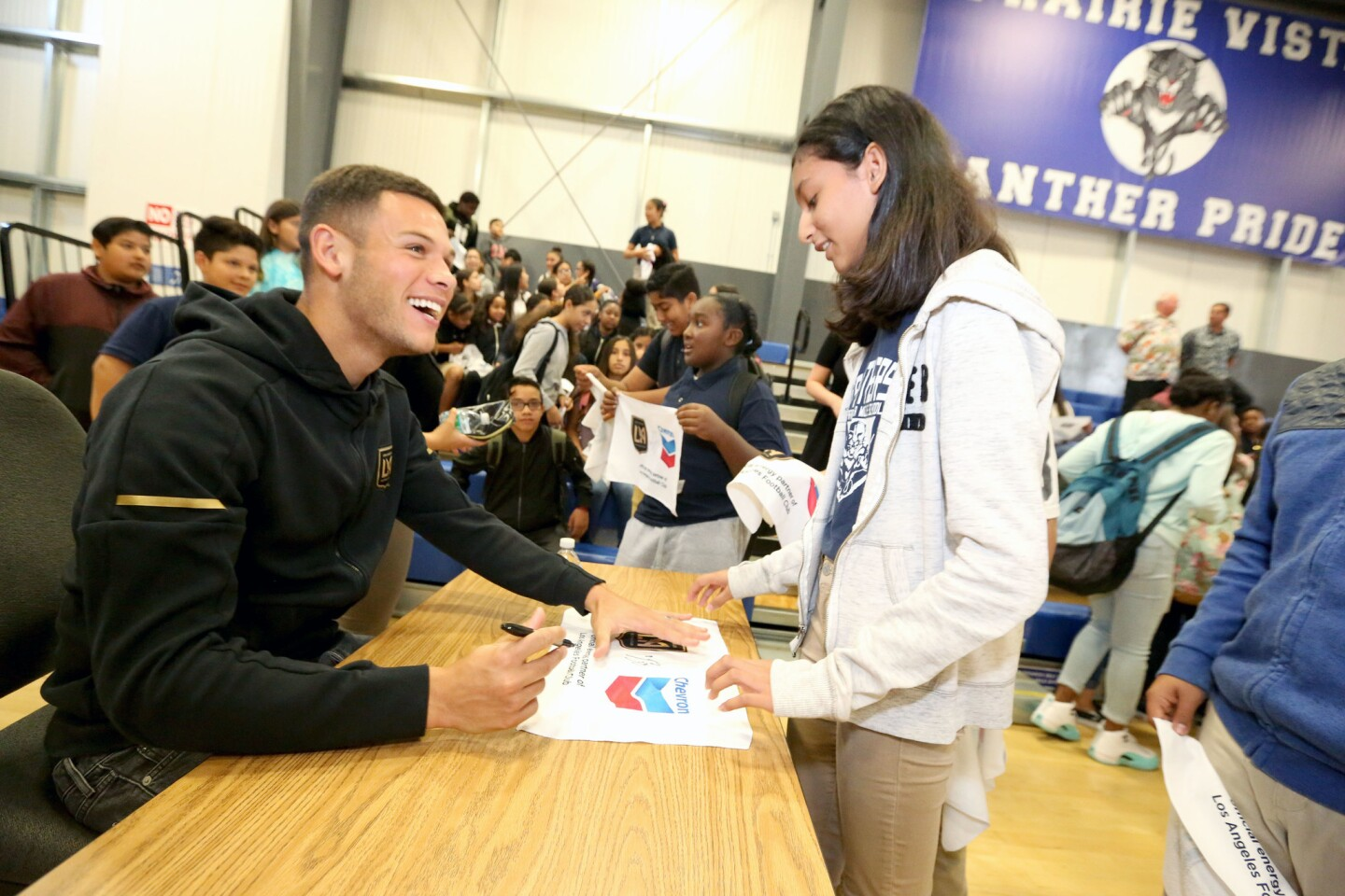 LAFC Player Christian Ramirez Surprises Students at Prairie Vista Middle School During Chevron's Fuel Your School Event on Monday, Oct. 22, 2018 in Hawthorne, Calif. (Casey Rodgers/AP Images for Chevron)