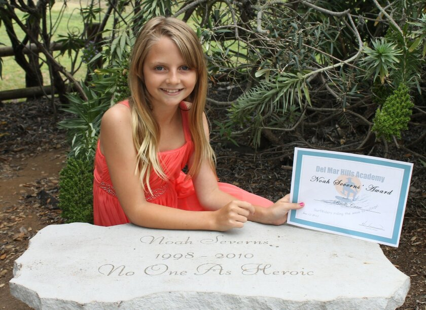 For her bravery and courage, Del Mar sixth-grader Brielle Carre recently received an award during the sixth-grade promotion ceremony at Del Mar Hills Academy.