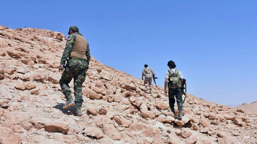 Syrian troops and pro-government gunmen advance up a hill in the eastern city of Dair Alzour, Syria.
