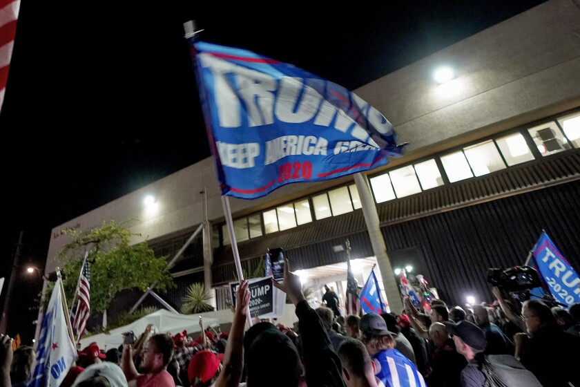 Supporters of President Trump rally in Phoenix on Nov. 4.
