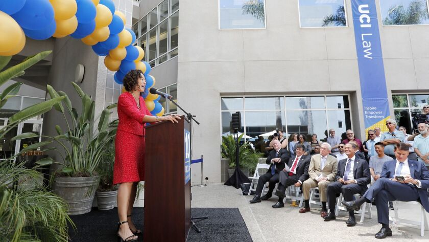 UC Irvine School of Law Dean L. Song Richardson speaks during a celebration marking the law school's 10th anniversary Monday.