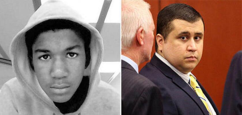 A rally was planned in downtown Los Angeles on Saturday for Trayvon Martin, left, who was shot to death in Florida in 2012 by George Zimmerman, right. Zimmerman was acquitted on murder and manslaughter charges in the shooting last month.