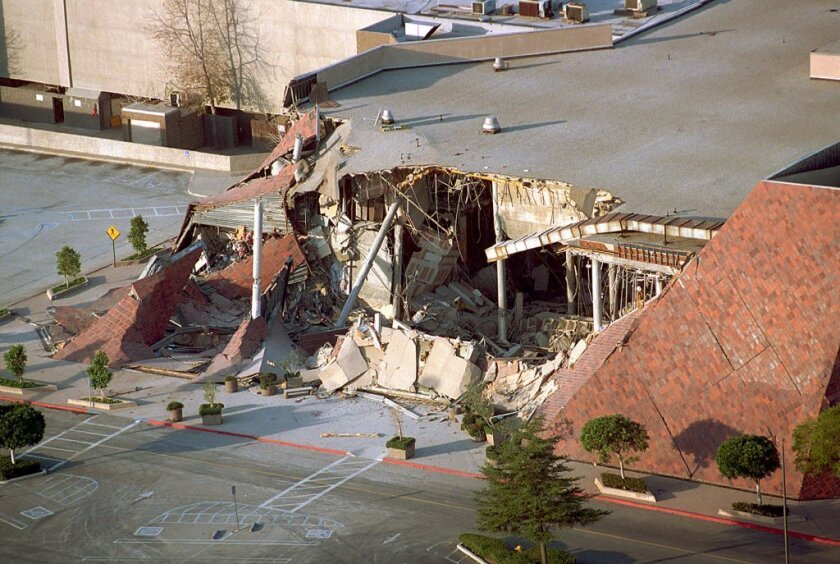 """Shown is a department store at the Northridge Fashion Center that collapsed after the 1994 Northridge quake. Scientists used ocean waves to create a """"virtual earthquake"""" to simulate the ground motion and physical damage that can be expected from a real quake along the San Andreas Fault."""