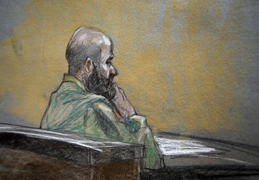 Ft. Hood shooter Army Maj. Nidal Malik Hasan, in a courtroom sketch during court martial, says he wants to be a citizen of Islamic State.