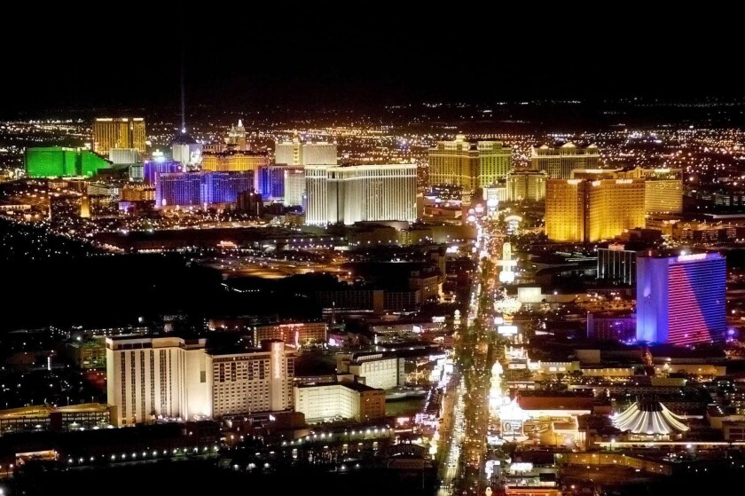 An aerial photo of Las Vegas and the Strip.