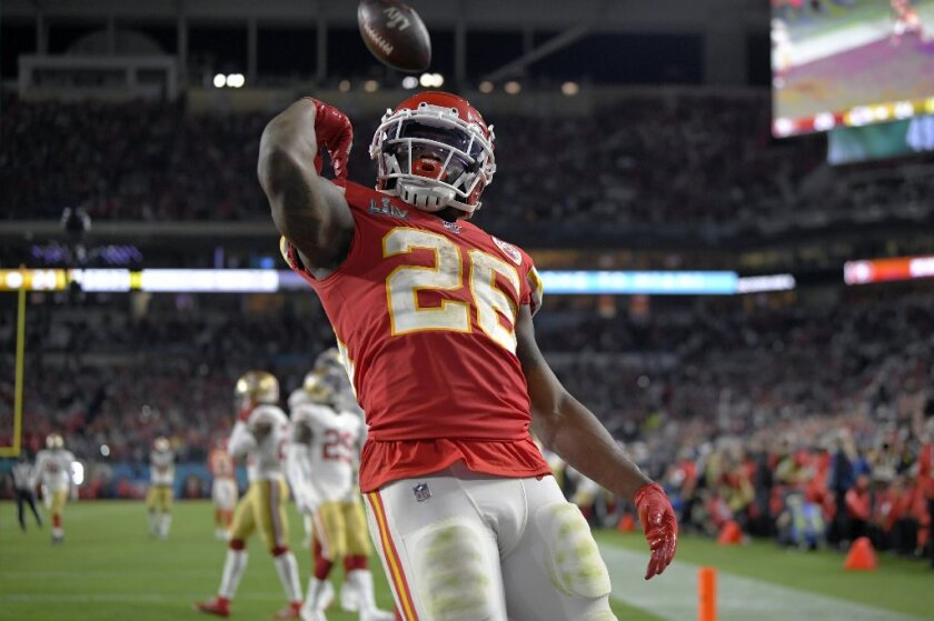 Kansas City Chiefs' Damien Williams, a Mira Mesa High graduate, celebrates his touchdown against the San Francisco 49ers during the second half of Super Bowl LIV on Sunday, Feb. 2, 2020, in Miami Gardens, Fla.