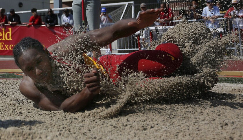 USC's Adoree' Jackson won the long jump during a track meet against UCLA on May 3.