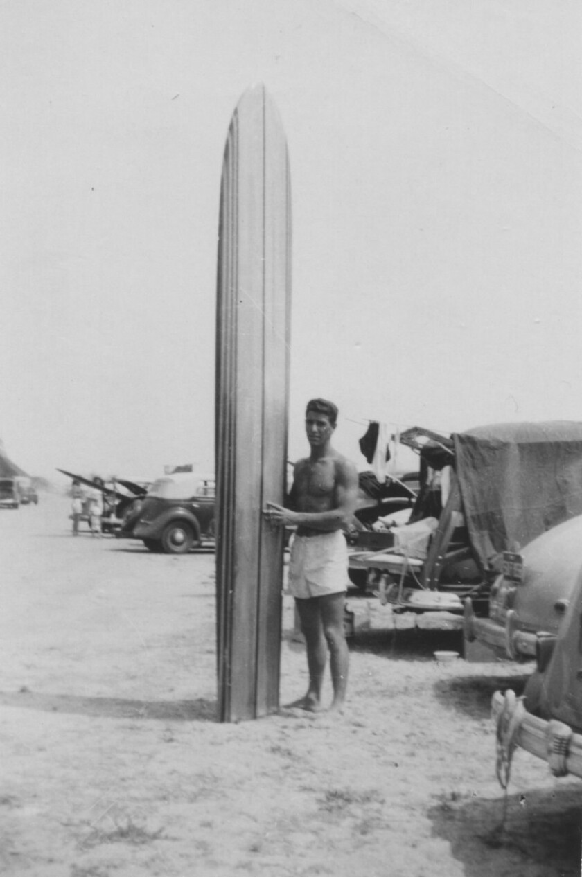 Hal Landis with board at San Onofre in 1947. T