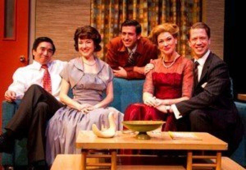 Ryu (Greg Watanabe), Katha (Jo Anne Glover), Roger (Mike Nardelli), Ellen (Amanda Sitton) and Dean (Jordan Miller) gather for an evening of 1950s recreation in Cygnet Theatre's 'Maple and Vine. Daren Scott