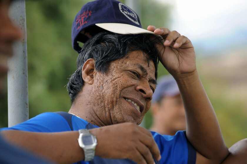 """Honduran coach Ramon Maradiaga -nicknamed """"Primitivo""""- gestures during a training session of CD Motagua, at the Pedro Atala Simon sports complex in Amareteca, Francisco Morazan, 25 km north of Tegucigalpa on March 24, 2008. Maradiaga is negotiating with the Guatemalan Football Federation (Fedefutbol) his return to lead the national team, in replacement of Colombian Hernan Gomez."""