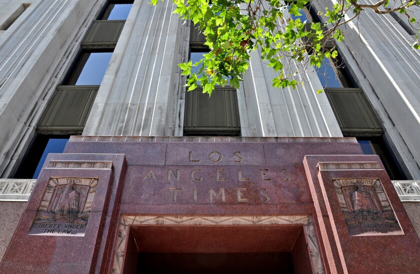 The Los Angeles Times building in downtown Los Angeles. Vancouver developer Onni Group, which acquired the property in September, has unveiled plans to redevelop part of the site with high rise residential towers.