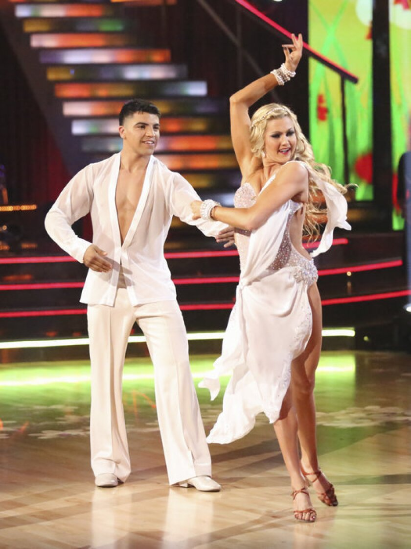 Victor Ortiz and his pro partner, Lindsay Arnold, compete during Week 6.