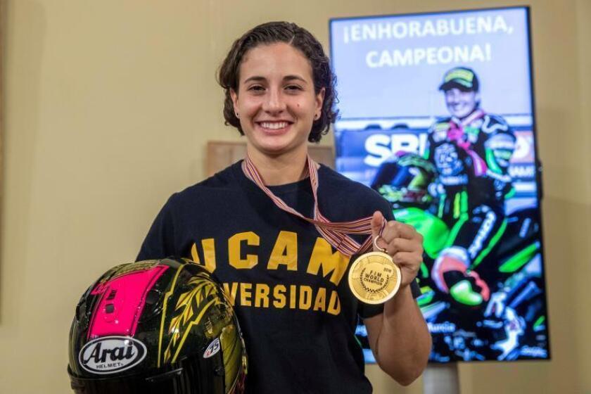 La piloto campeona mundial de Supersport 300, Ana Carrasco. EFE/Archivo