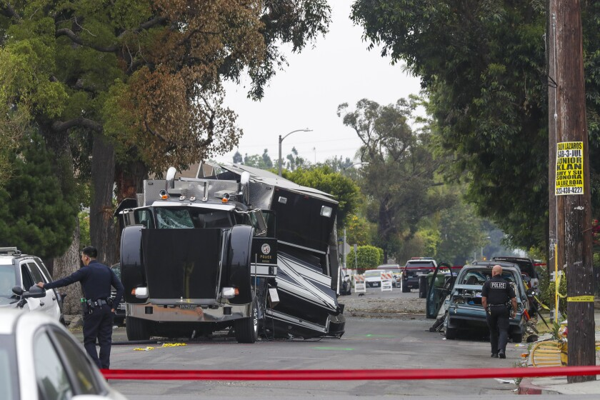 The LAPD's bomb squad vehicle was destroyed after officers miscalculated the weight of illegal fireworks detonated