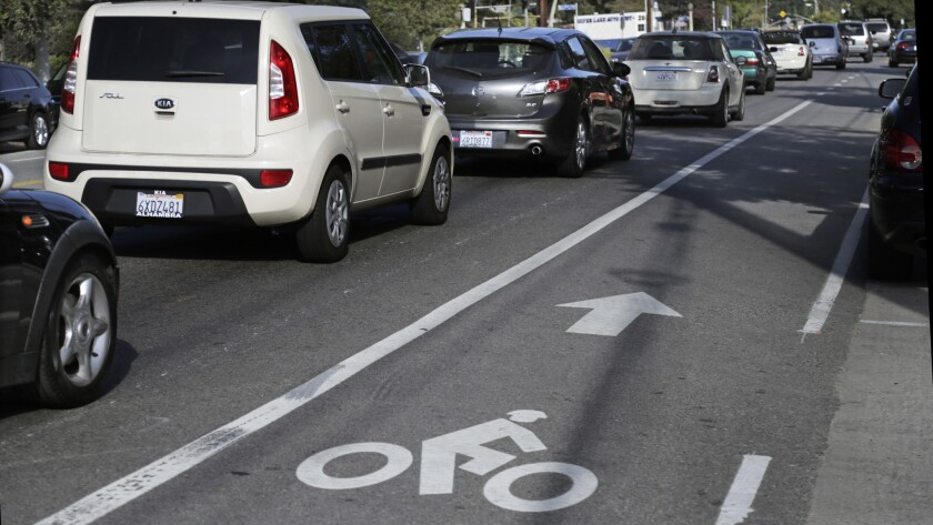 The bike lane on Rowena Avenue in L.A.